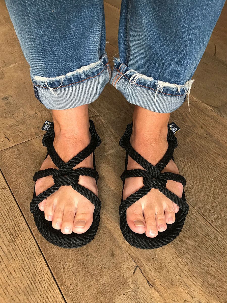 MOUNTAIN MAMA ROPE SANDALS - BLACK