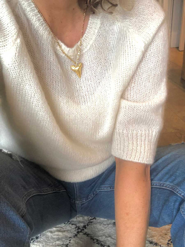 ROSIE CROPPED SLEEVE JUMPER - OFF-WHITE