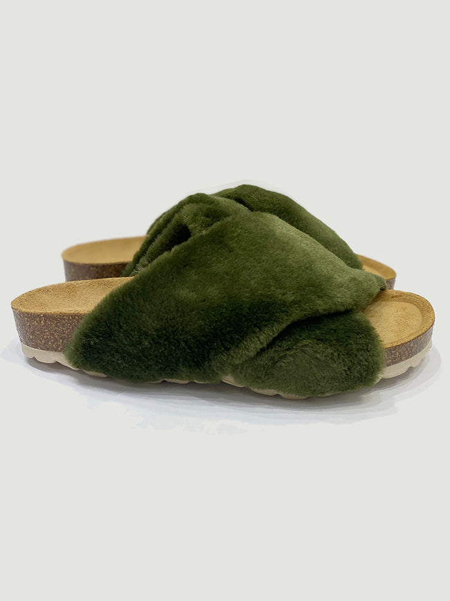 TRINE FAUX FUR SLIDER SLIPPERS - KHAKI