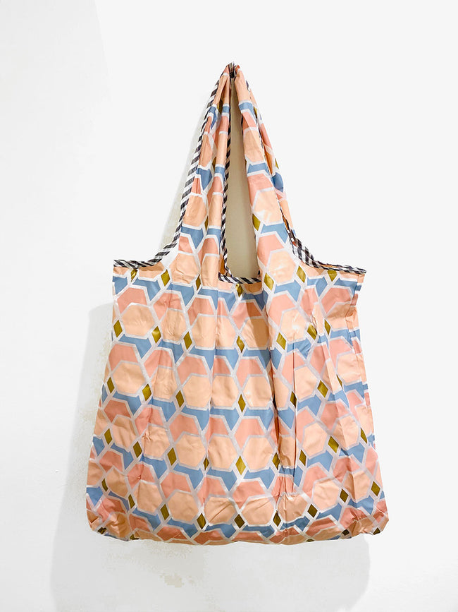 REUSEABLE GEOMETRIC PATTERN SHOPPING BAG - PINK MIX