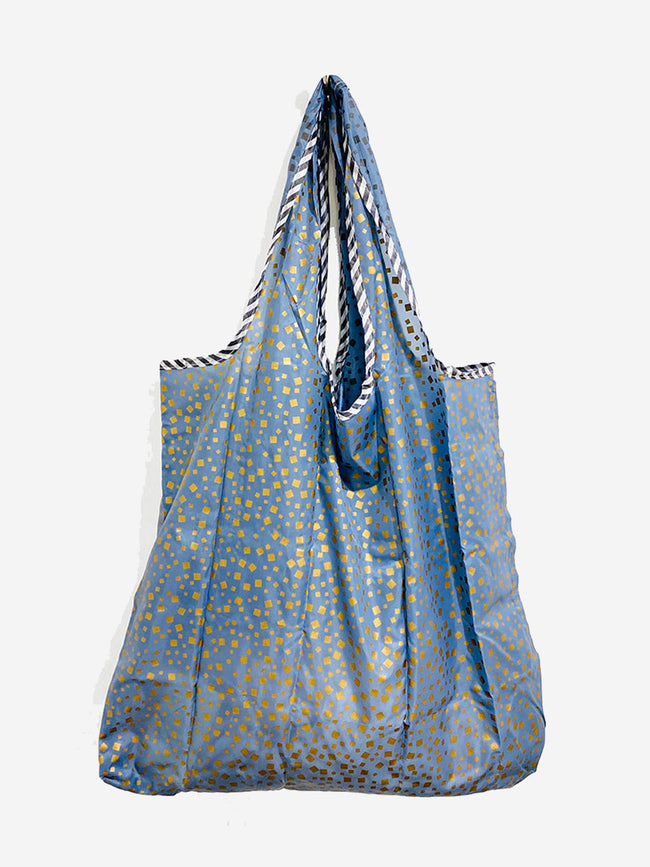 REUSEABLE SQUARE PATTERN SHOPPING BAG - BLUE