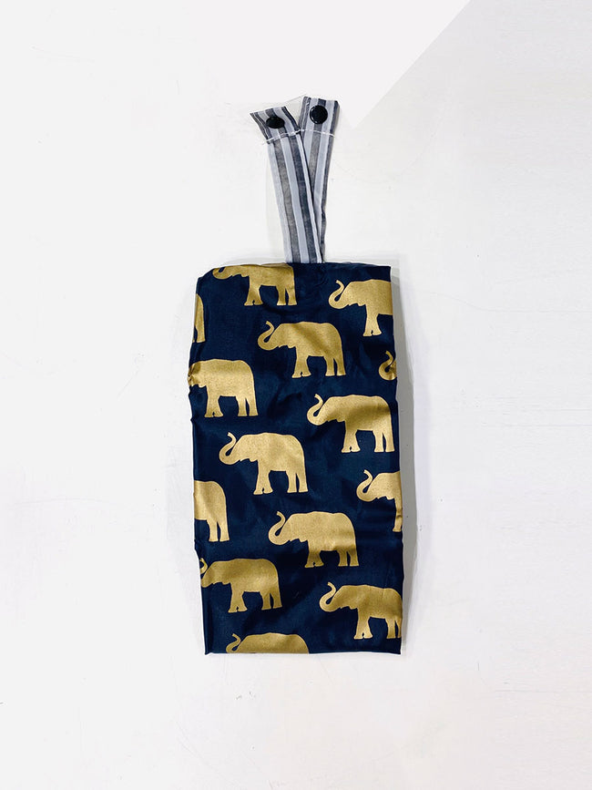 REUSEABLE ELEPHANT PATTERN SHOPPING BAG - NAVY