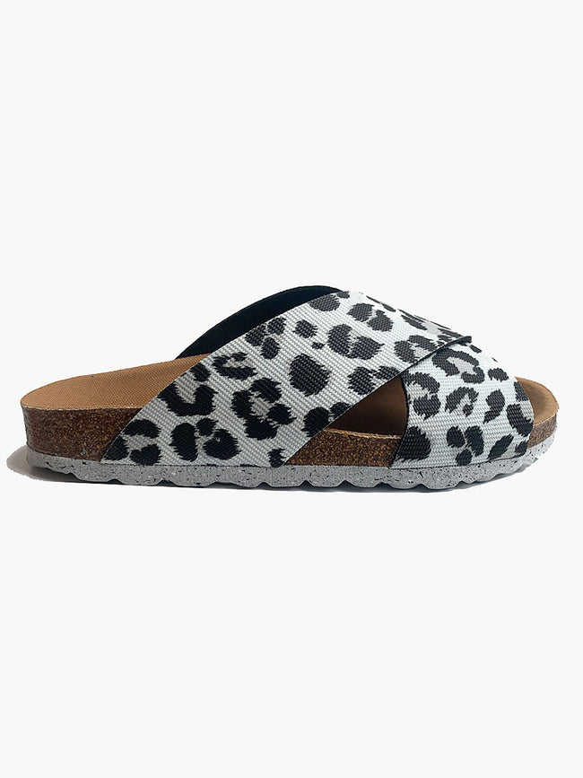 CROSSOVER SLIDE SANDALS - LEOPARD