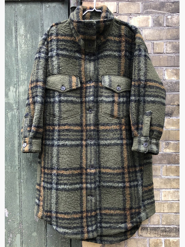 MELBOURNE CHECK COAT - ARMY