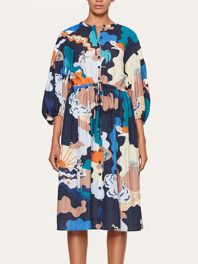 INDIA PUFF SLEEVE PRINTED DRESS - LANDSCAPE