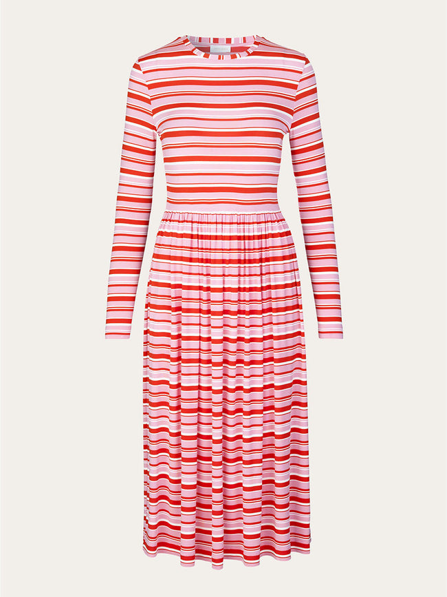 JOEL STRETCH JERSEY MIDI DRESS - STRIPES PINK