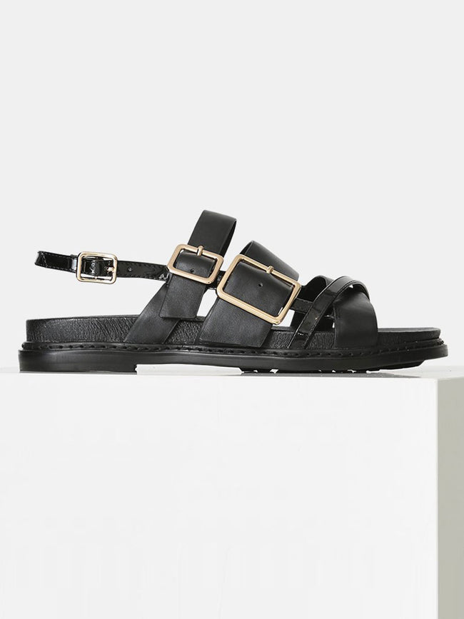 JOY MULTI STRAP SANDALS - BLACK