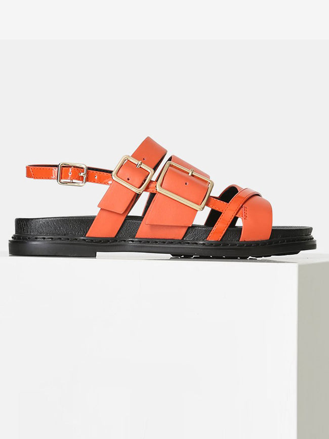 JOY MULTI STRAP SANDALS - CORAL RED
