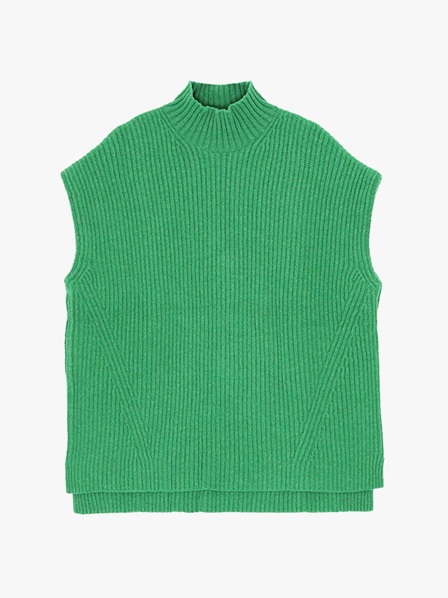 RIB KNIT VEST - FOLIAGE GREEN