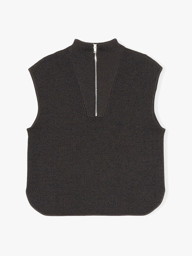 MELANGE KNIT VEST - CHICORY COFFEE