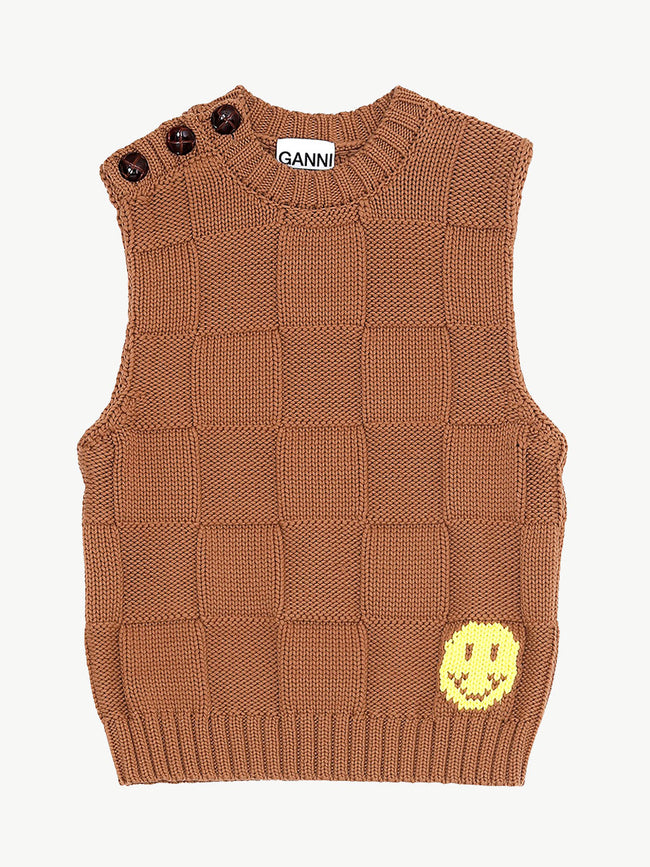 COTTON ROBE KNIT VEST - TIGERS EYE