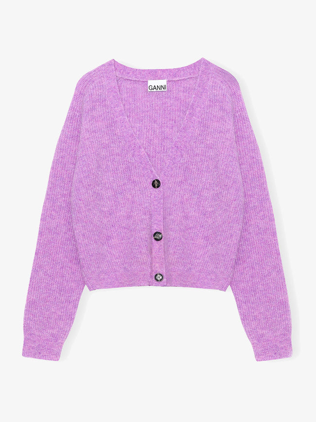 SOFT WOOL KNIT CARDIGAN - PASTEL LILAC