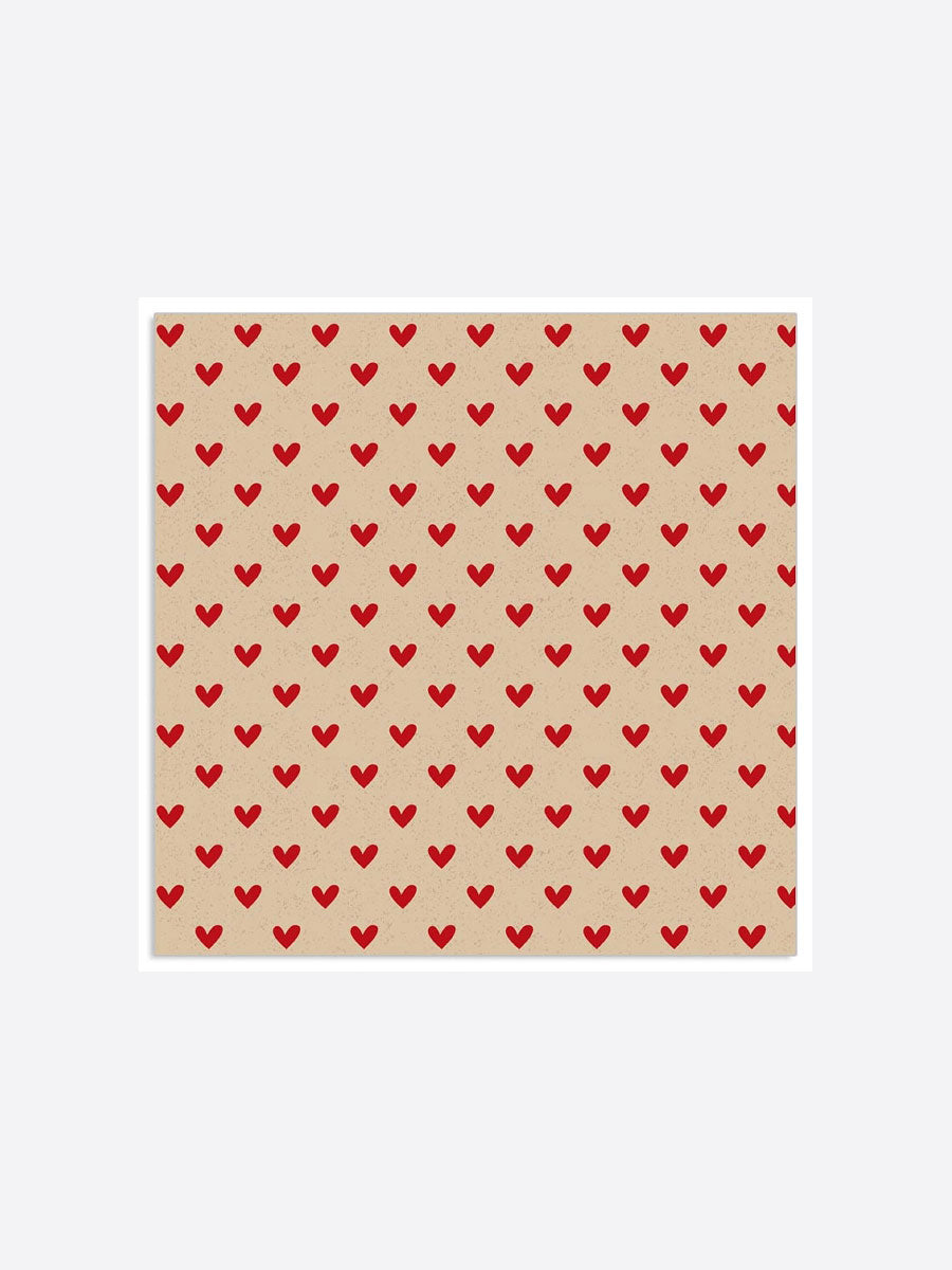 MINI HEART NAPKINS - RED AND BEIGE