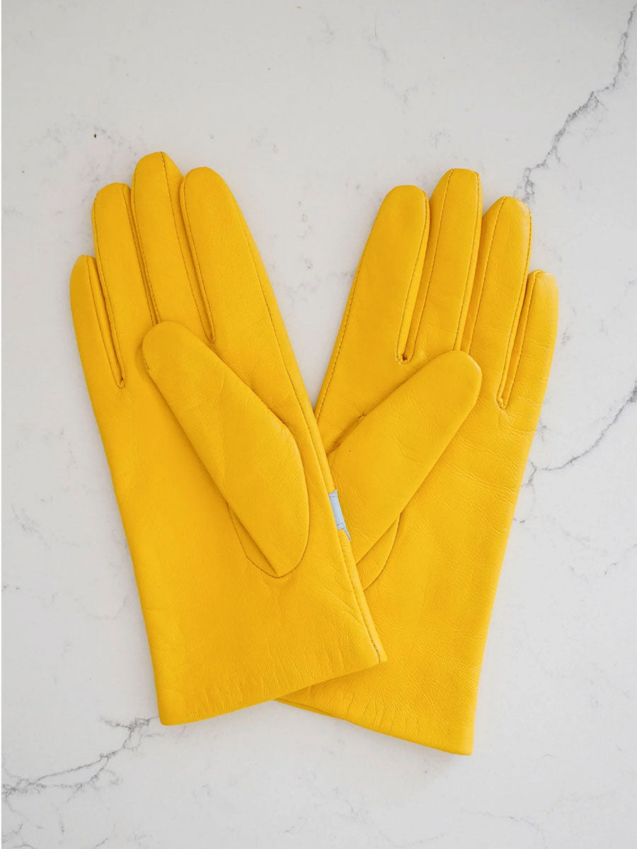 LEATHER GLOVES - YELLOW CLOUDS