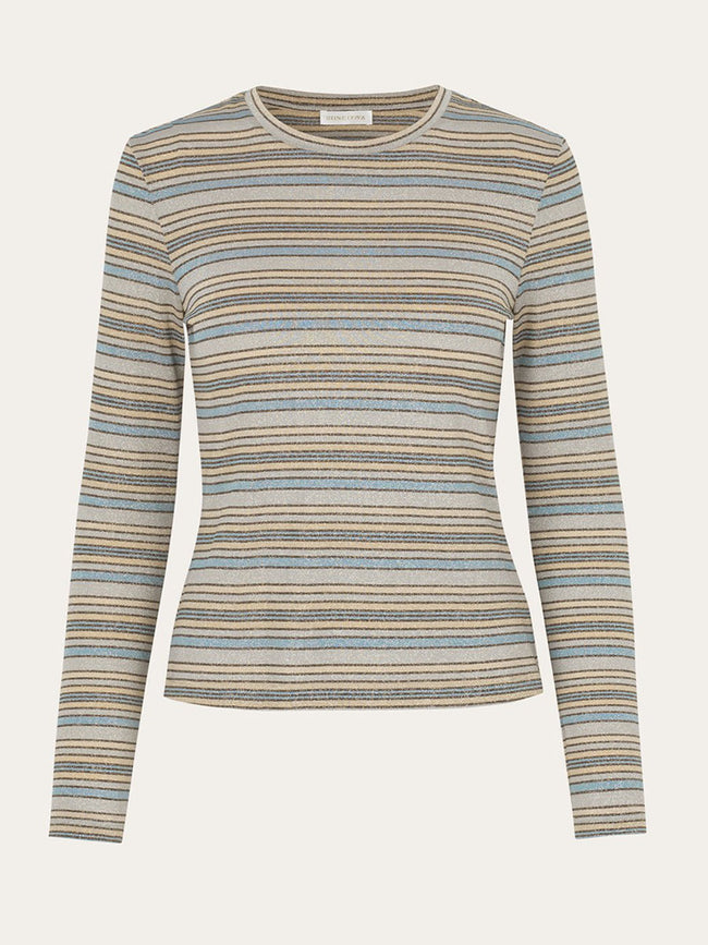 MAYA GLITTER JERSEY TOP - STRIPES BLUE
