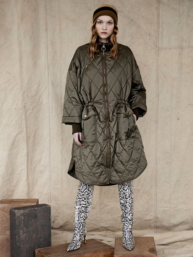 NUKA QUILTED PARKA COAT - ARMY