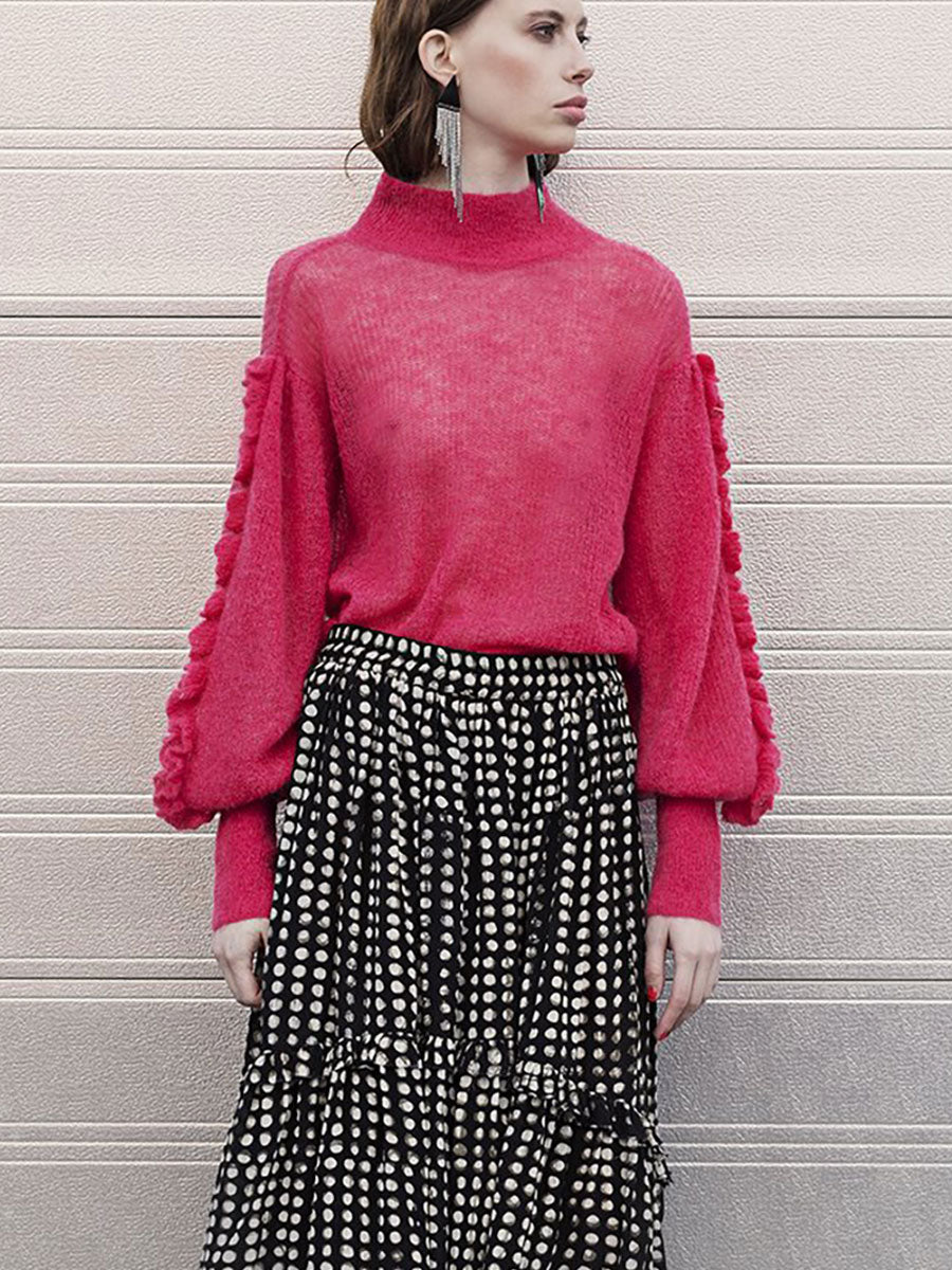 LONE SHEER KNIT JUMPER - PINK