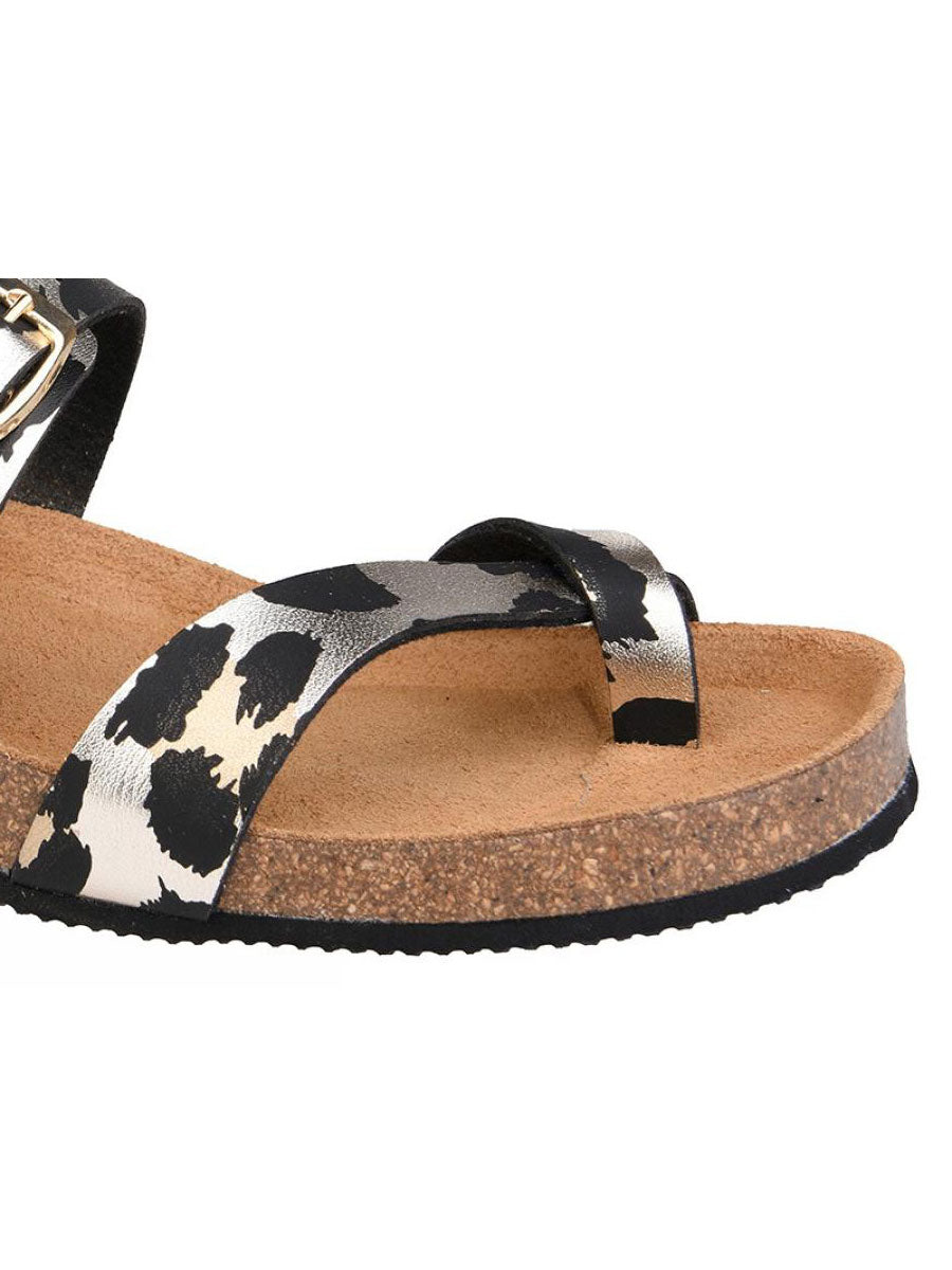 METALLIC LEO PRINT THONG SANDALS