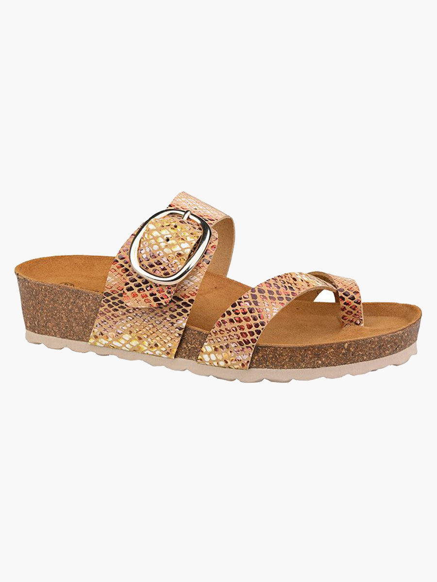 LEATHER BUCKLE SANDALS - SNAKE