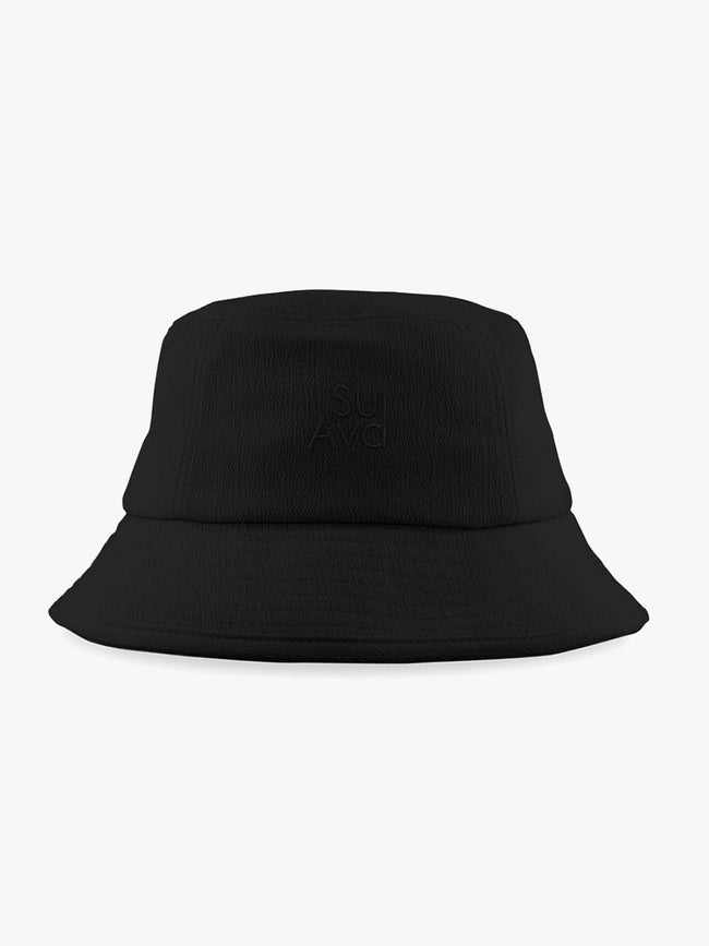 MARIAH SEERSUCKER BUCKET HAT - BLACK