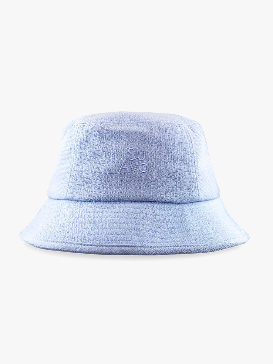 MARIAH SEERSUCKER BUCKET HAT - LIGHT BLUE