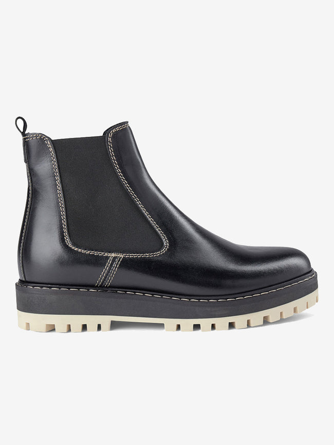 LAWRIE LEATHER CHELSEA BOOTS - BLACK/BLACK