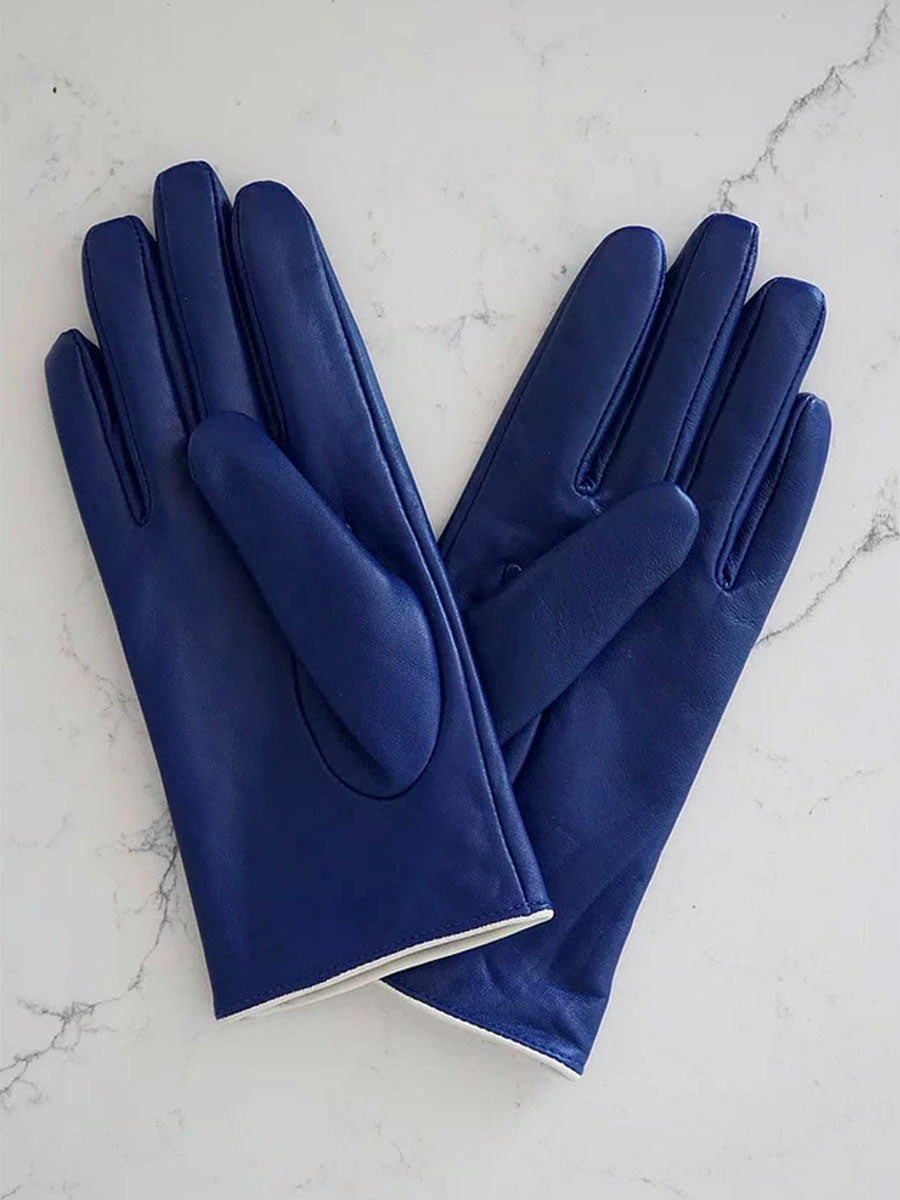 LEATHER GLOVES -NAVY CAT