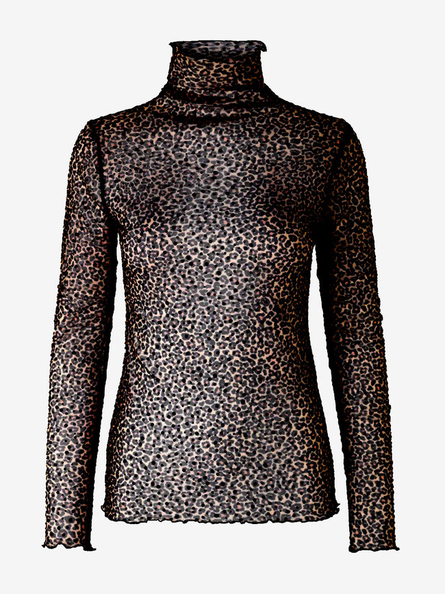 KIM LEOPARD TOP - BLACK