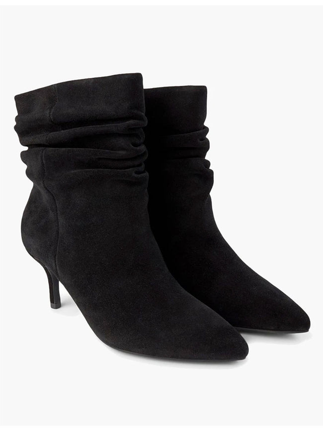 AGNETE SLOUCHY SUEDE BOOTS - BLACK