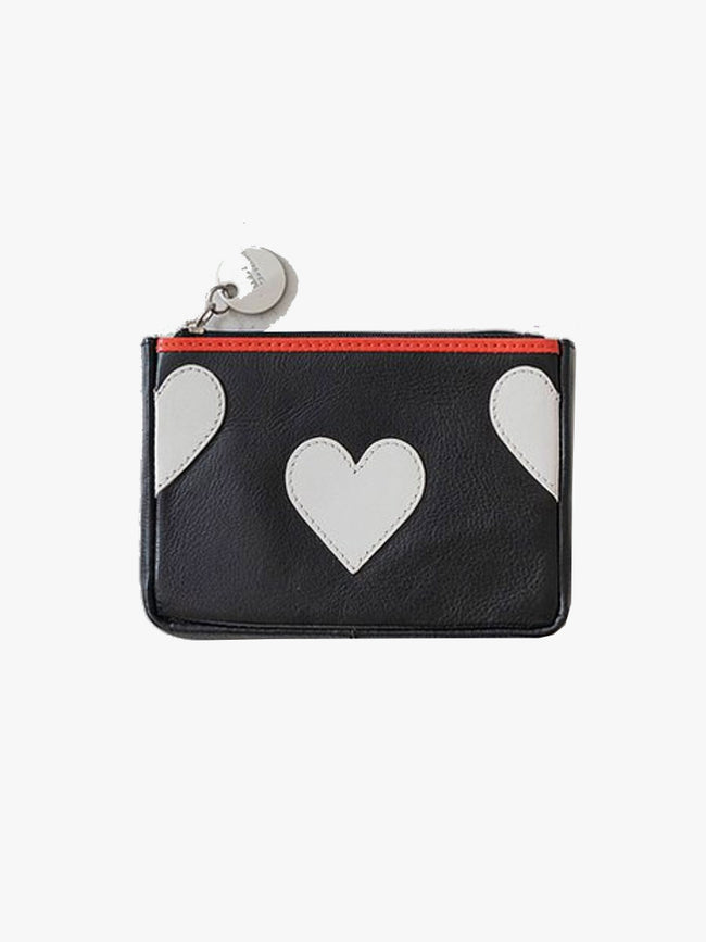 WHITE HEART PURSE - BLACK