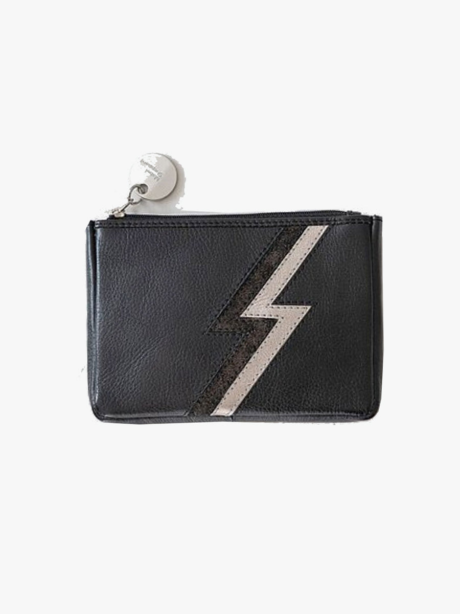 METALLIC ZIGGY PURSE - BLACK