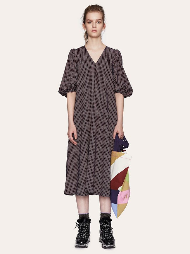 MAVELIN STRETCH DRESS - GRID