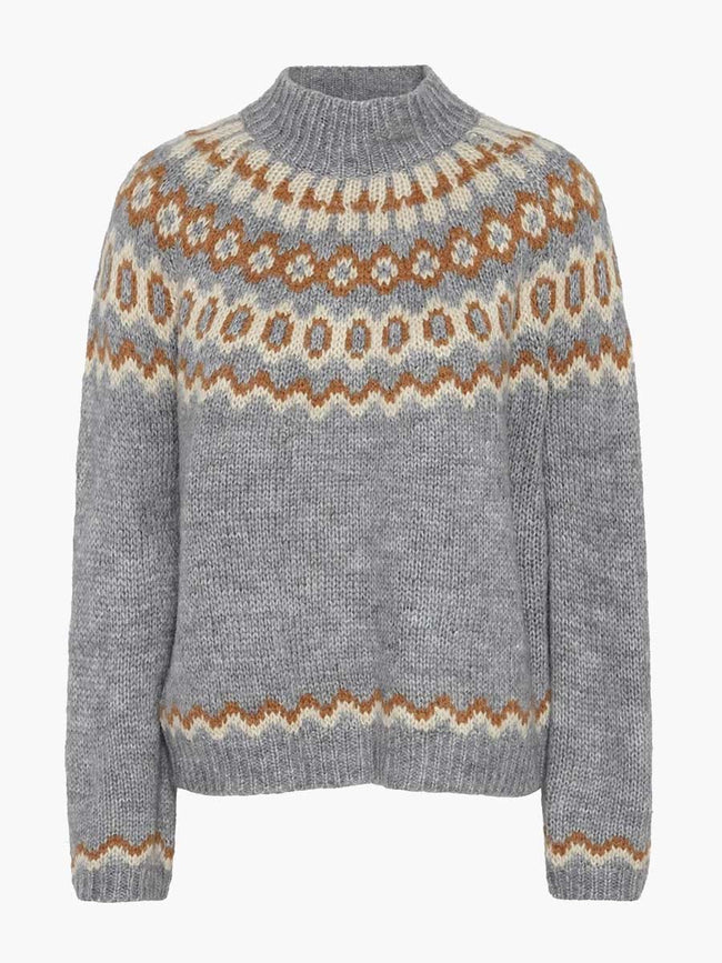 GABY JACQUARD KNIT JUMPER - GREY