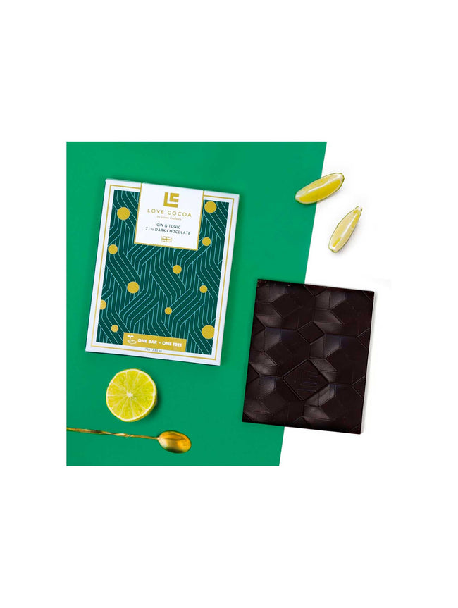 GIN AND TONIC 71% DARK CHOCOLATE BAR