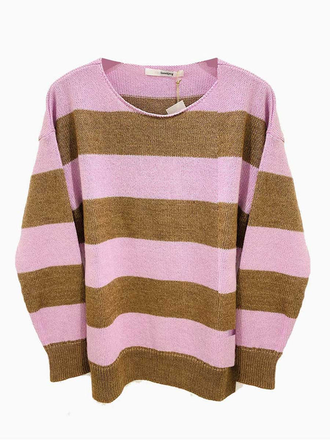 PALMA STRIPED JUMPER - CAMEL/PETAL PINK