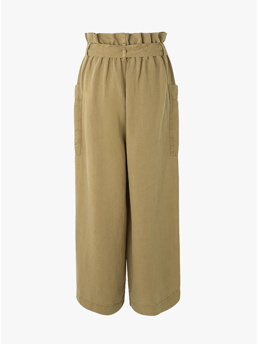 MANZ PAPERBAG TROUSERS - GREEN KHAKI