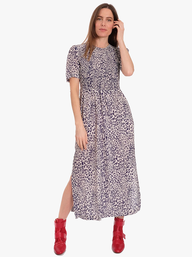 ADAMARIS SMOCK DRESS - DEEP COBALT LEOPARD