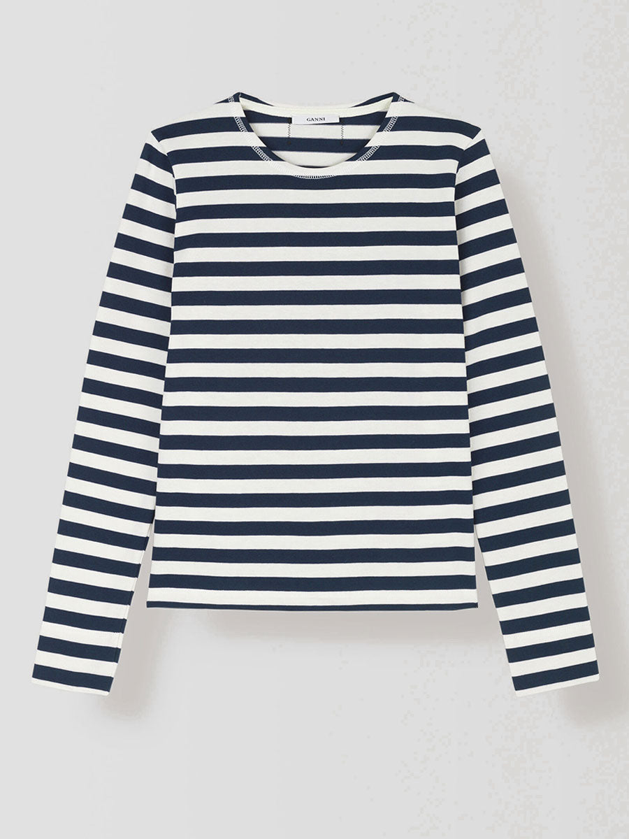 LONG SLEEVE BRETON STRIPE T-SHIRT - NATURE AND DRESS BLUES