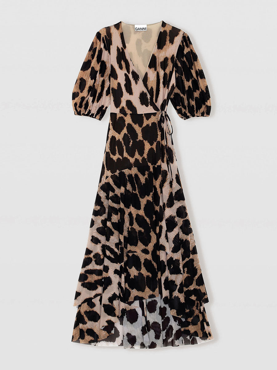 PRINTED MESH WRAP DRESS - MAXI LEOPARD