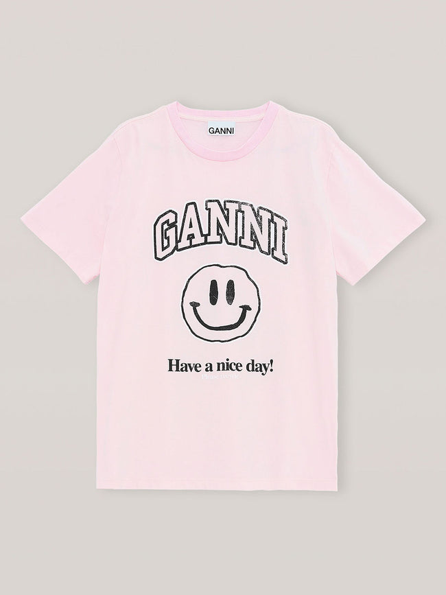BASIC COTTON JERSEY SMILEY T-SHIRT - CHERRY BLOSSOM