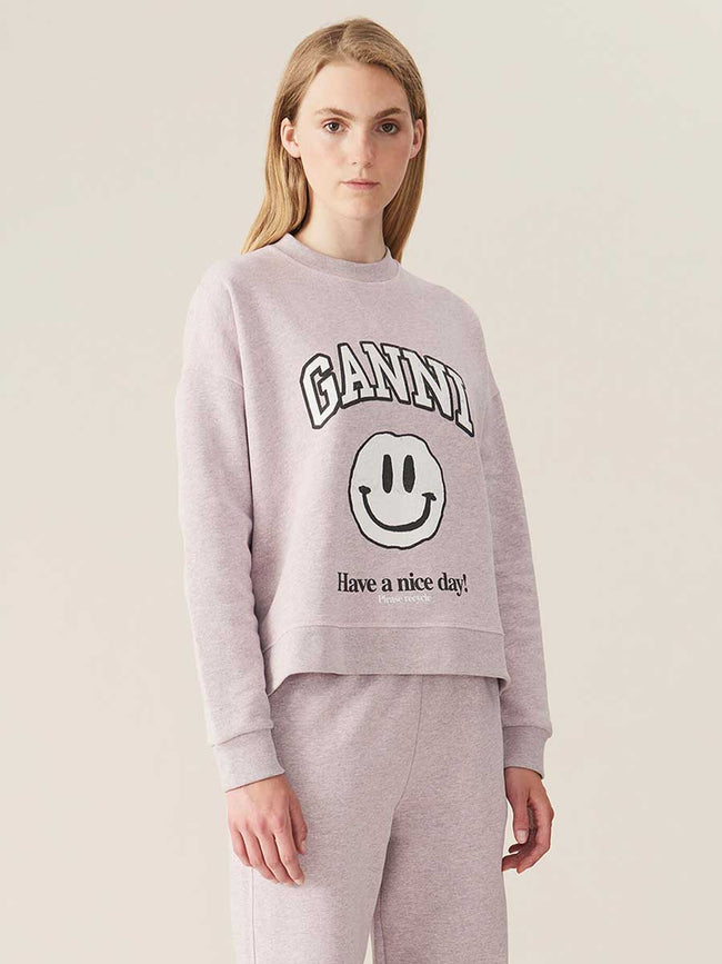 ISOLI DROPPED SHOULDER SMILEY SWEATSHIRT - PALE LILAC