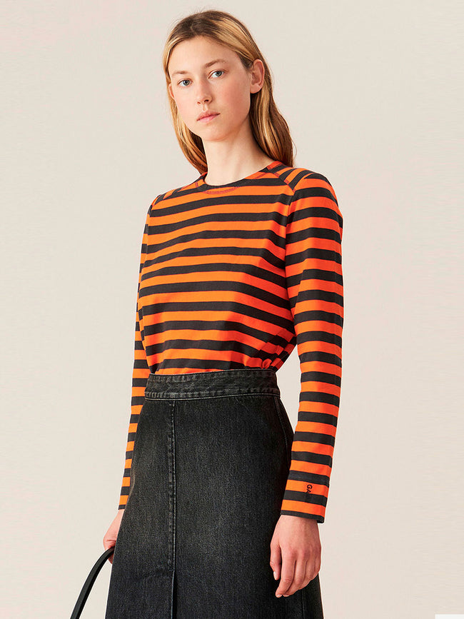 STRIPED COTTON JERSEY TOP - FLAME