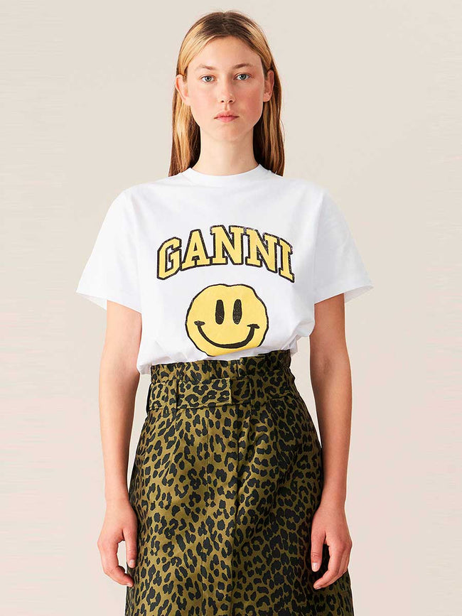 BASIC COTTON JERSEY SMILEY T-SHIRT - YELLOW