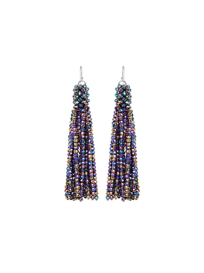 ALEXIS CRYSTAL TASSEL EARRINGS - MULTI