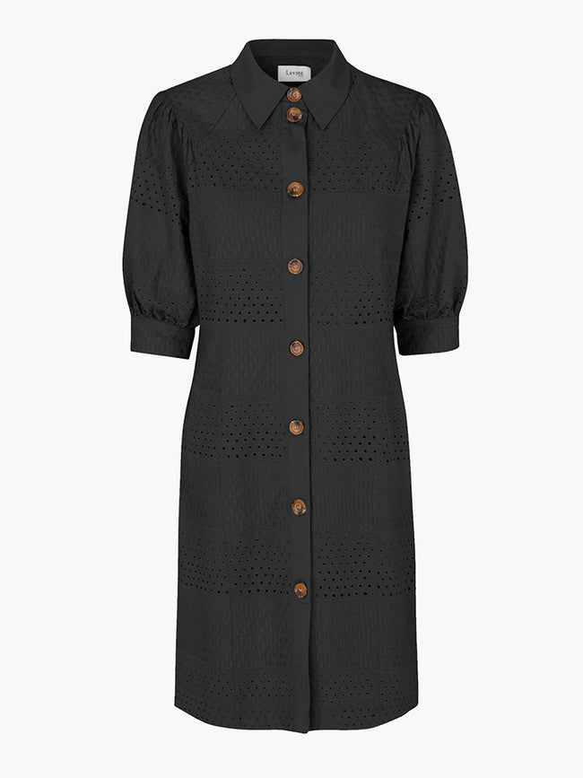 ISA LOUISE BRODERIE DRESS - BLACK
