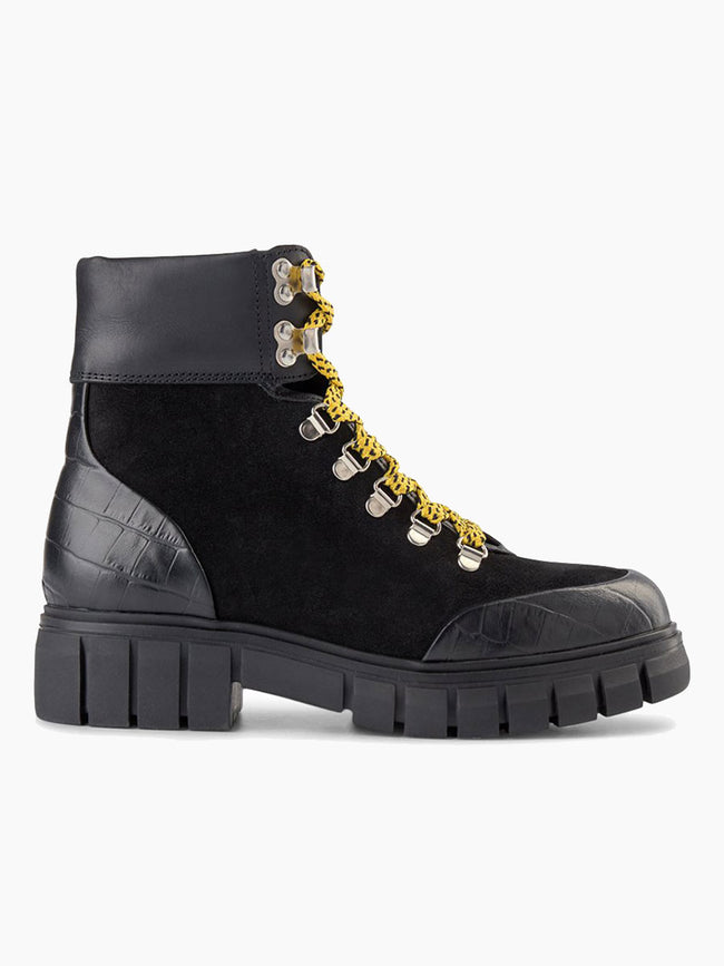 REBEL HIKER CROC LEATHER BOOTS - BLACK