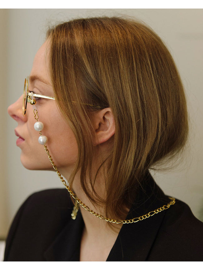 YARA FRAME CHAIN - GOLD AND PEARL