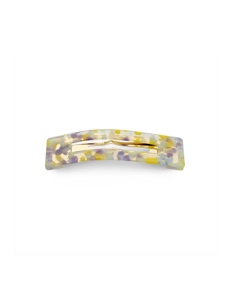 AMALIE MARBLED HAIR CLIP - YELLOW & PURPLE