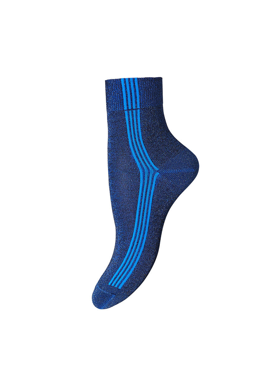 VIOLET GLITTER QUAD STRIPE ANKLE SOCKS - NAVY/BLUE