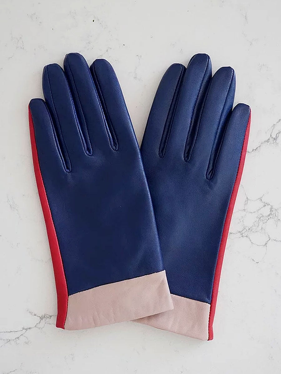LEATHER GLOVES - NAVY COLOURBLOCK